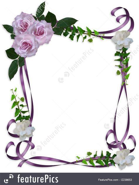 Illustration Of Roses Wedding Invitation Border