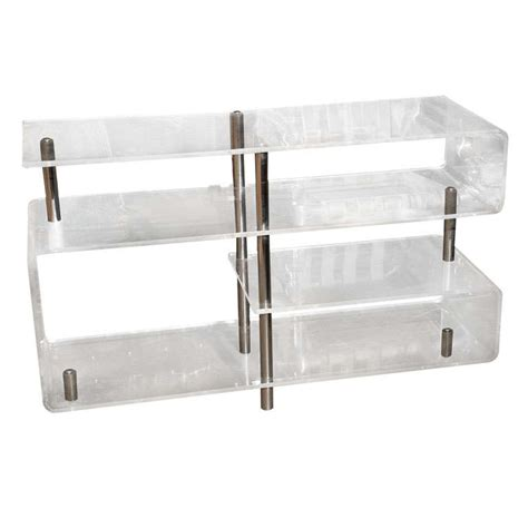 chrome bookshelves lucite bookcase etagere and chrome shelves at 1stdibs