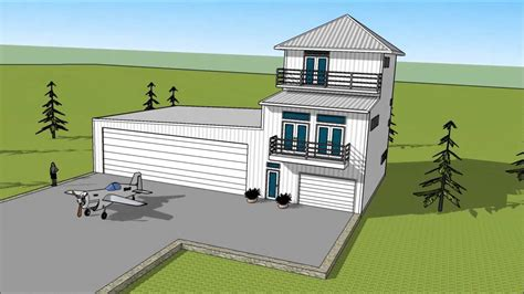 Hangar Homes Floor Plans by Metal Building Three Story Condo Attached To Airplane
