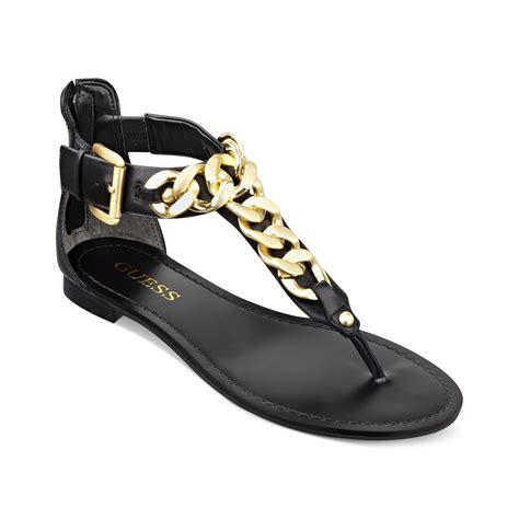 guess flat sandals guess fiefel flat sandals in black lyst