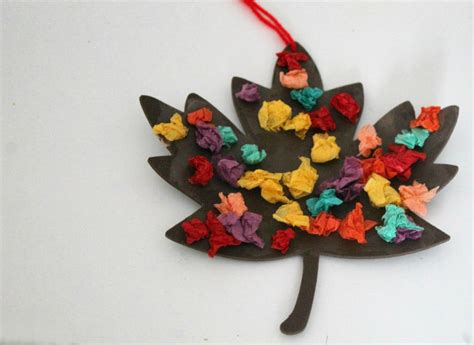Paper Fall Crafts - scrunched tissue paper autumn leaf fall craft in the
