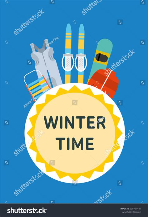 Winter Time Concept Banner Template Sled Stock Vector 538761481 Shutterstock Winter Banner Templates