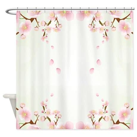 pink and white shower curtain cherry blossom in pink and white shower curtain by artonwear