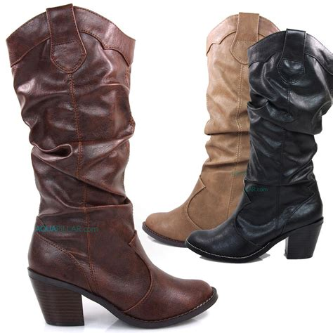 slouch high heel boots lode western cowboy slouch boots knee high stacked