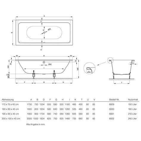bette select badewanne bette free rechteck badewanne 200 x 100 x 45 cm 6832 megabad