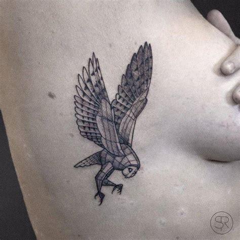 owl tattoo rib cage little fineline barn owl tattoo on the right rib cage