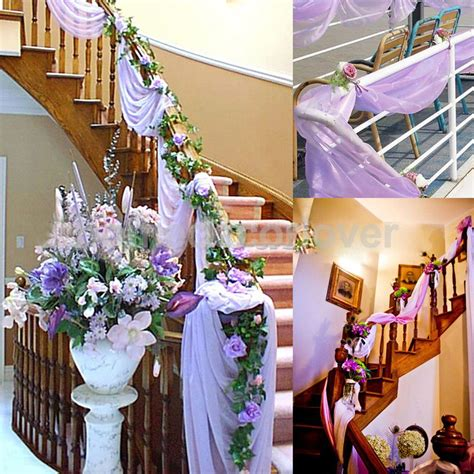 home decoration for engagement party 5m top table swags sheer organza fabric diy bow wedding
