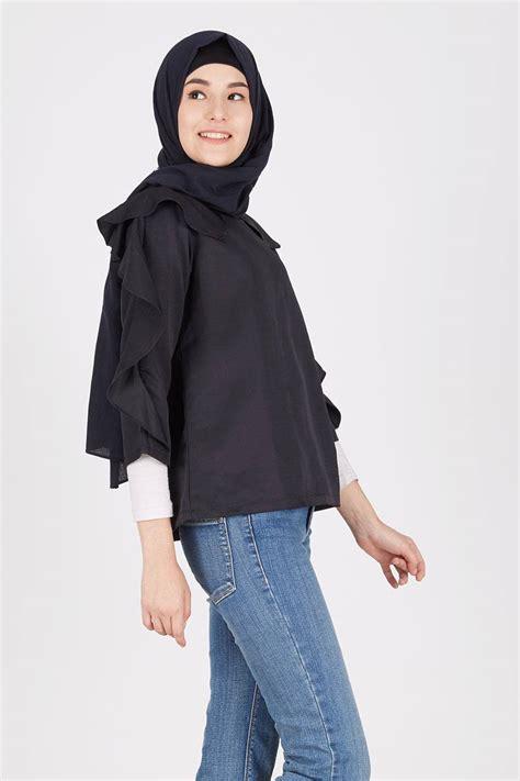 Baju Hijabers Trendi Amiya Top Black sell illia top black tops hijabenka