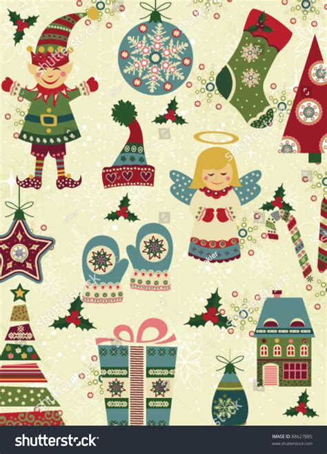 retro christmas pattern vector free retro christmas pattern christmas icons stock vector