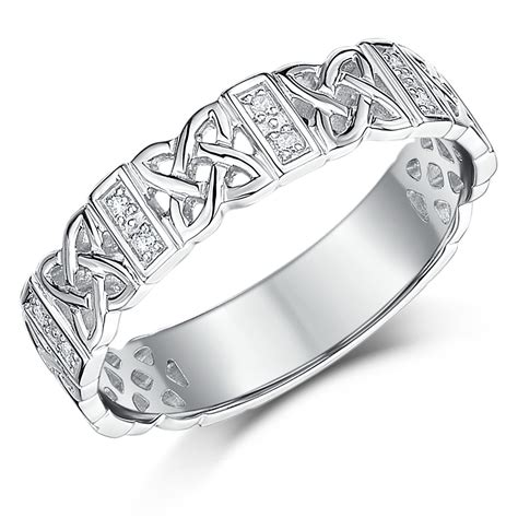 5mm 9 carat white gold celtic wedding ring band