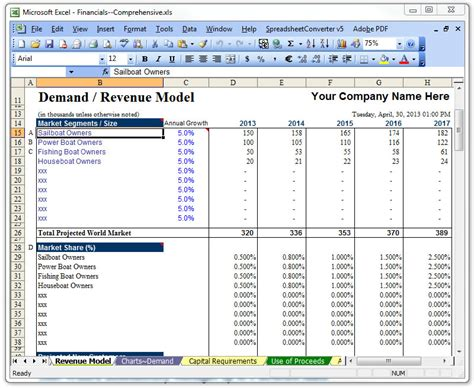 Business Financing Template Free Business Template Business Plan Template Excel 2