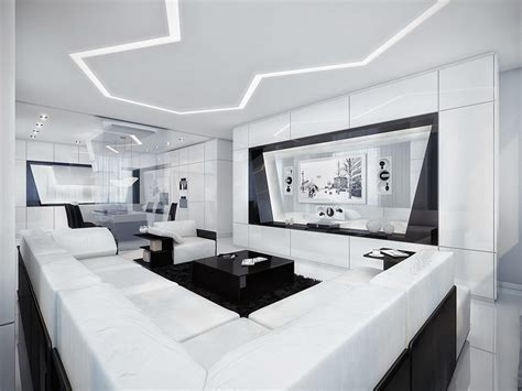 Modern Black And White Living Room by Futuristic Black And White Apartment
