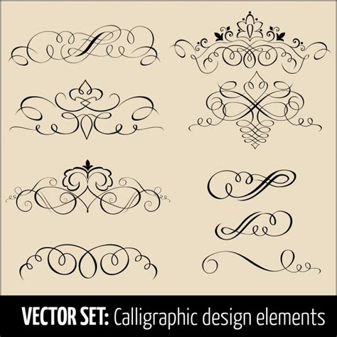 vector wedding design elements and calligraphic page decoration vector set of calligraphic and page decoration design