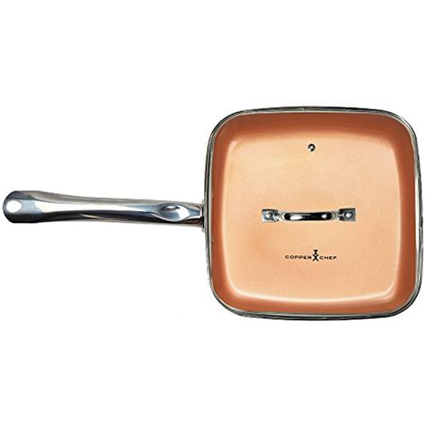 10 inch ceramic skillet with lid copper chef 9 5 inch square frying pan with lid skillet