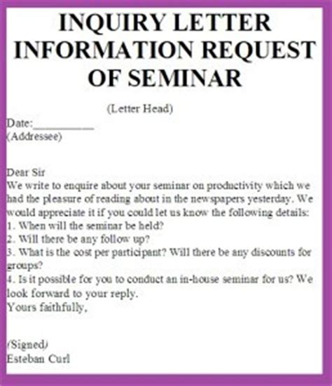 Inquiry Letter Reply Exle Eng 201 2nd Assignment Of Pakistan