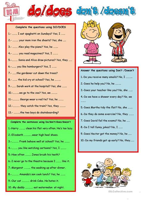 Doesn T An Mba by Do Does Don T Doesn T Worksheet Free Esl Printable