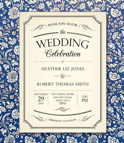 vintage invitation templates vintage type wedding invitation template print