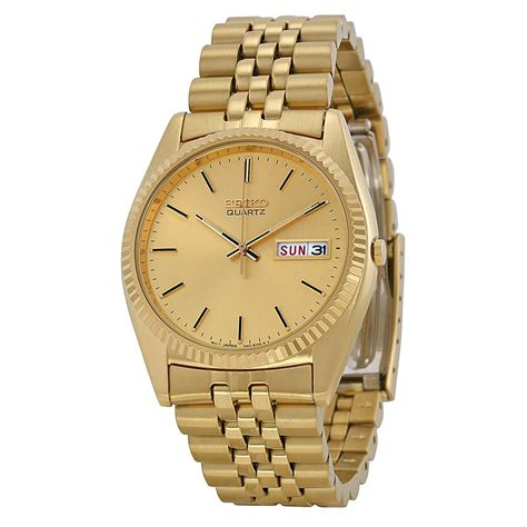 seiko day and date dress gold tone stainless steel s