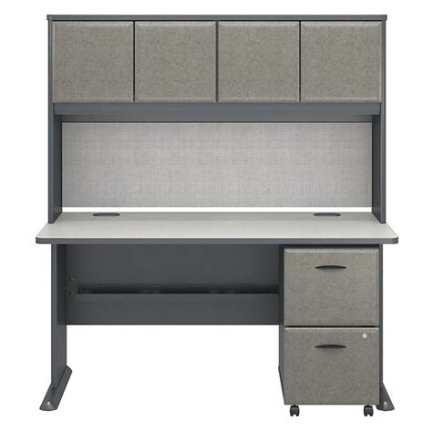 spectrum desk l reviews bush business series a 60 quot desk with hutch in slate white