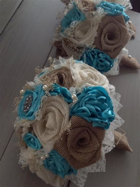 Handmade Bouquet - handmade bridal bouquets with and ivory burlap and