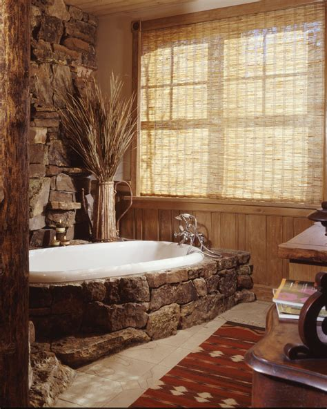 Rustic Wood Bedroom Furniture - chic bathtub surrounds look other metro rustic bathroom image ideas with bamboo shade decorative
