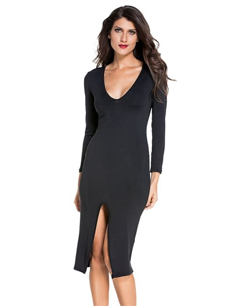 Bombay Home Decor black long sleeve midi dress e6740 2 cilory com