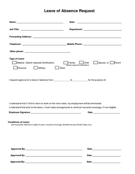 employee sick leave form template image gallery leave form