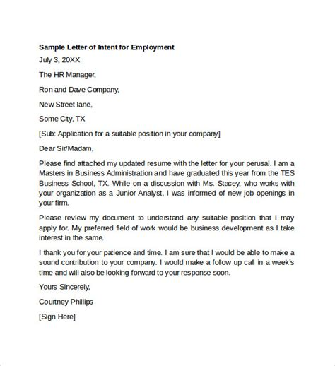 Cover Letter For Employment Sles by Employment Letter Of Intent 9 Letter Of Intent For