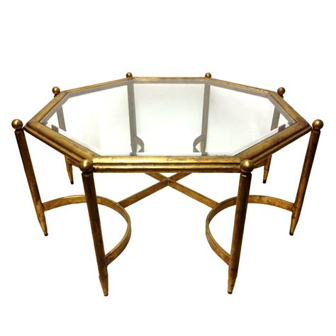 fabulous regency gold gilt glass top coffee table the