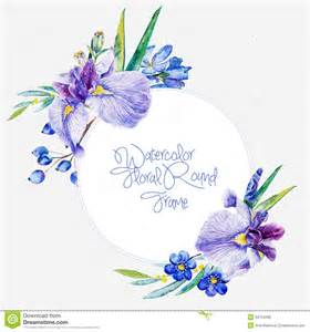 any design of flowers watercolor round frame of blue irises and other flowers