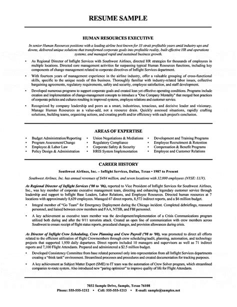 free hr executive resume sles human resources executive resume airline industry