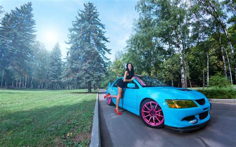 blue girly cars leaning on a blue mitsubishi lancer evo x wallpapers
