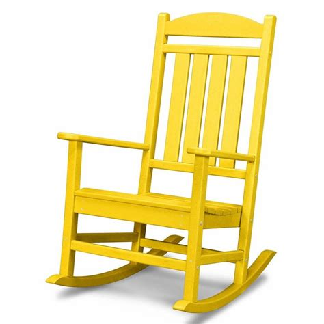 outdoor patio rocking chairs shop polywood lemon recycled plastic slat seat outdoor