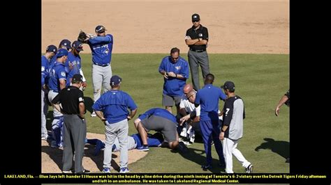 tj house blue jays pitcher tj house struck in head by line drive youtube