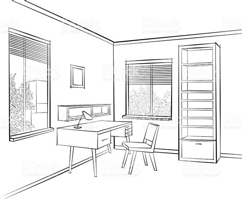 house interior sketch room interior sketch workplace home office furniture stock