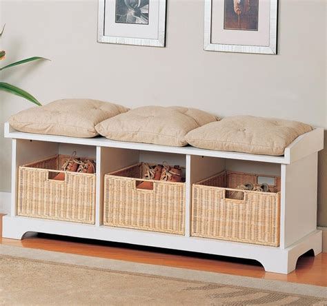 entryway bench with baskets and cushions benches storage bench with baskets by coaster sku 501054