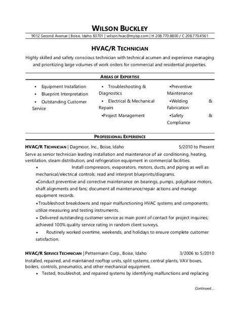 hvac technician resume sample monstercom