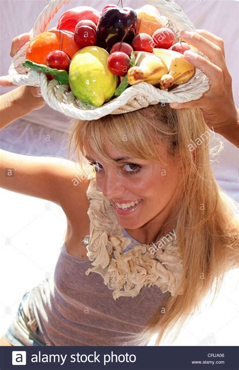woman with fruit basket on head woman with fruit basket on her head woman with fruit