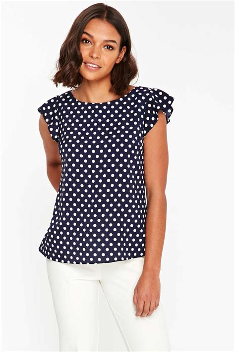 White Dot Top Y222 navy polka dot frill top new tops new in wallis