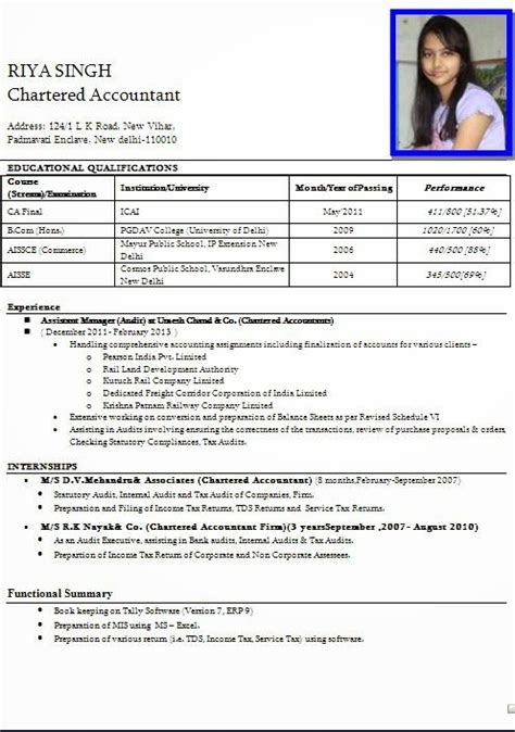 Free Indian Resume Sles Cv Format Professional