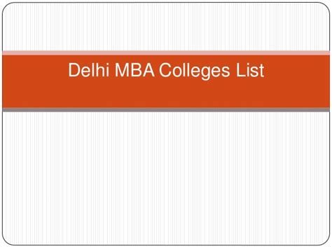 Delhi Mba Colleges List by Delhi Mba Colleges List