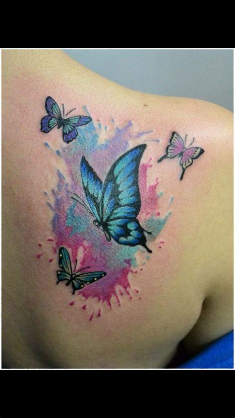 watercolor tattoo krak w just the small one on the right orange and w lavender