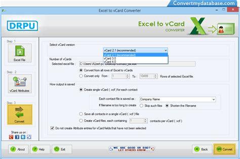 contact format converter excel to vcard converter software screenshots convert