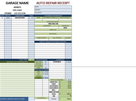 garage receipt template garage repair invoice template hardhost info