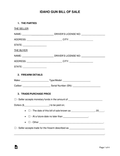 Free Idaho Gun Bill Of Sale Form Word Pdf Eforms Free Fillable Forms Bill Of Sale Template Idaho