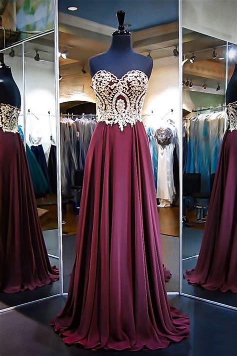 A Line Strapless Long Burgundy Chiffon Gold Lace Prom Dress