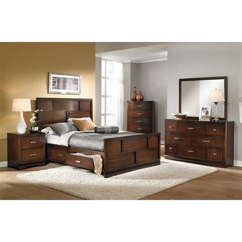 queen storage bedroom set toronto queen storage bed pecan value city furniture