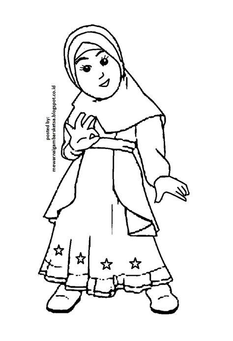 mewarnai gambar mewarnai gambar sketsa kartun anak muslimah 2