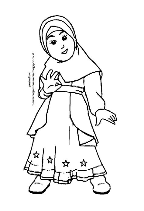 Mewarnai Gambar: Mewarnai Gambar Sketsa Kartun Anak Muslimah 2