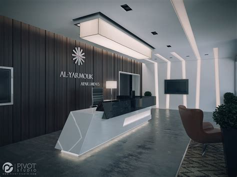 build a reception desk interior design and 3d visuals of apartments building
